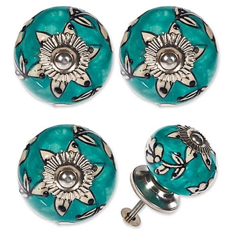 turquoise ceramic drawer pulls buy ceramic drawer in turquoise set of 4 from bed