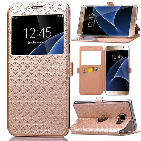 3d Flower List Swarovski For Samsung A3 2017 A320 1 luxury pu leather window view card slot phone for