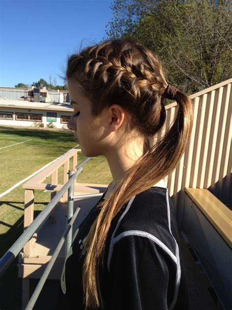 hair braided into pony braid into ponytail hairstyles pinterest