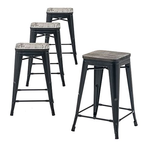 Stackable Wooden Bar Stools by Buschman Wooden Seat Counter Height Metal Bar Stools
