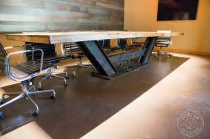 Floor And Decor Corporate Office conference table reclaimed tobacco barn brown