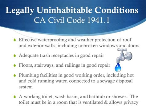 California Civil Code Section 1941 1 by How To Handle Maintenance Habitability Issues