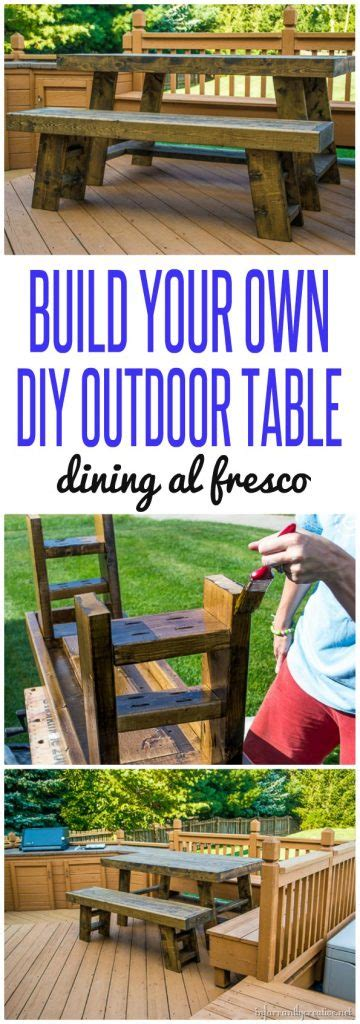 Build Your Own Outdoor by Outdoor Dining Table In A Walnut Stain Infarrantly Creative