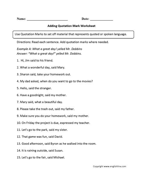Quotation Marks Worksheets by Quotation Worksheet Wiildcreative