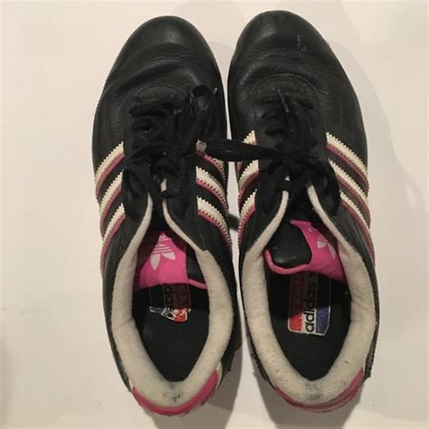 adidas black with white pink stripes adidas shoes 8 5 from s closet on poshmark