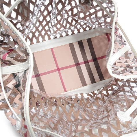 Burberry Cutout Drawstring Shopper by Burberry Supernova Check Net Drawstring Bag White 77536