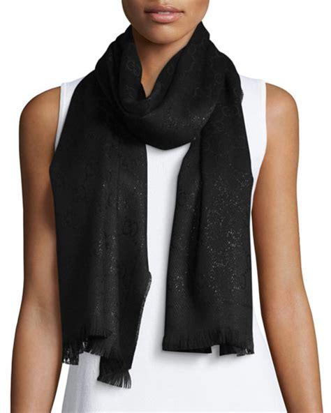 Scarf Black gucci shimmery gg pattern scarf black