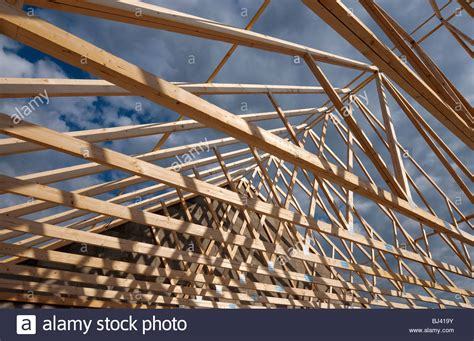 Prefabricated Roof Trusses by Prefabricated Timber Roof Trusses On Building Site