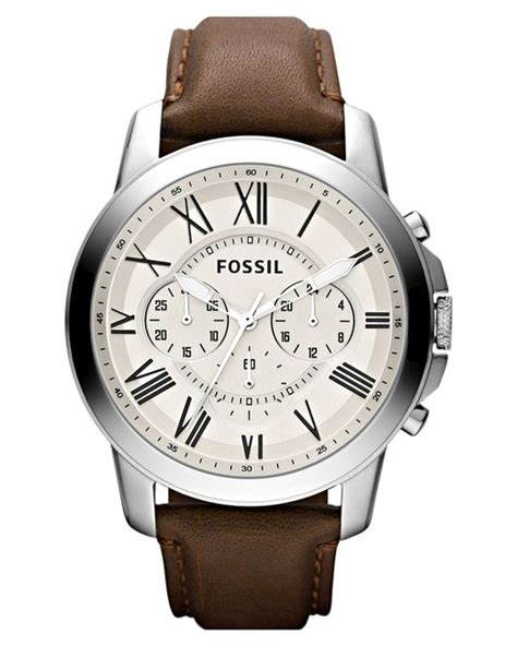 Fossil Grant Chronograph Fs5150 fossil s chronograph grant brown leather 44mm fs4735 in brown for lyst