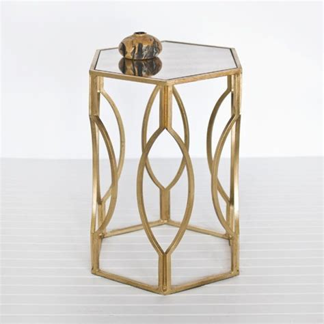 Gold End Table by Hexagon Side Table In Gold Leaf Side