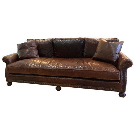 Leather Sofa Nailhead Ralph Leather Sofa With Nailhead Treatment 20th Century At 1stdibs