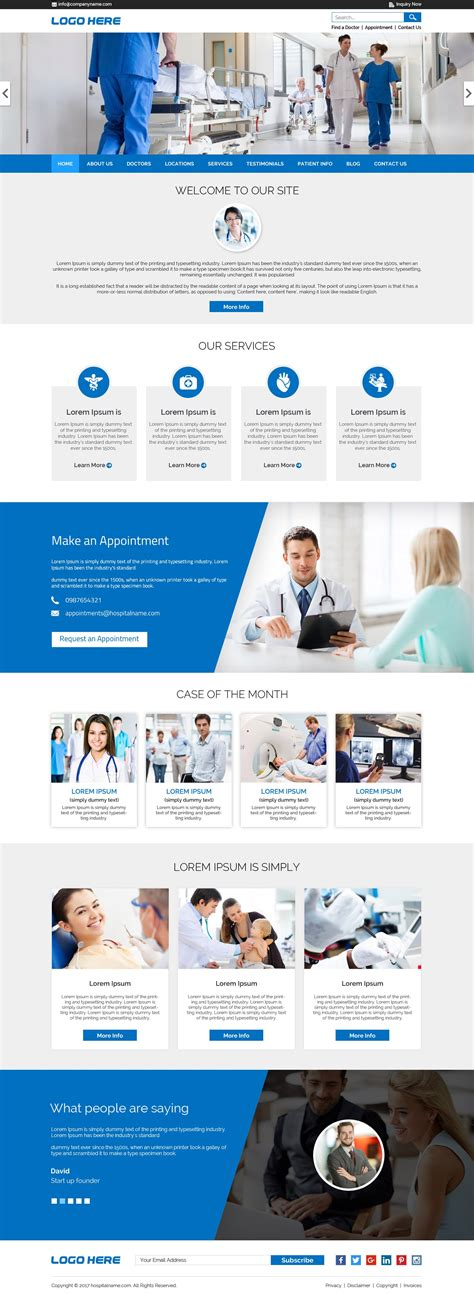 design html file online hospital website template free psd free psd design