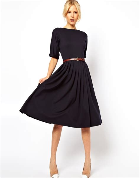 Midi Dress asos asos midi dress with skirt and belt at asos