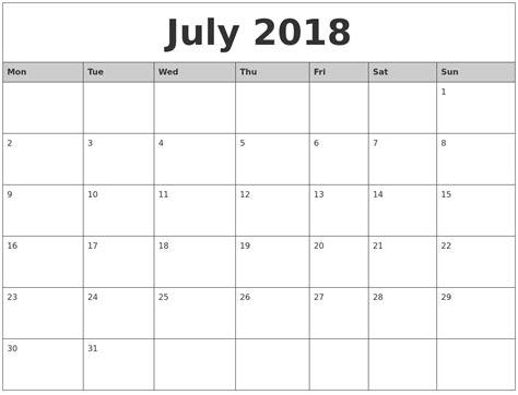2018 Monthly Calendar Printable July 2018 Monthly Calendar Printable