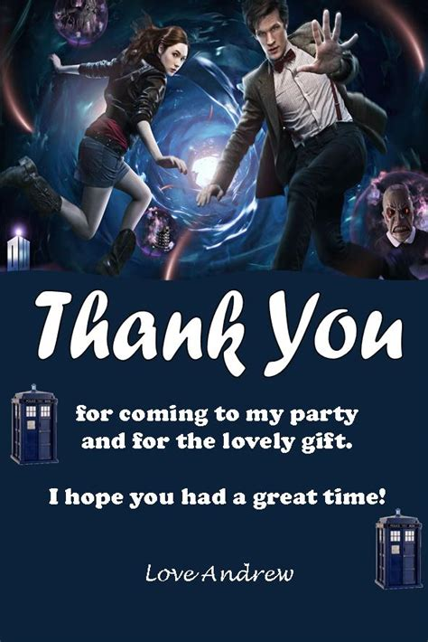 Dr Who Thank You Cards personalised doctor who thank you cards