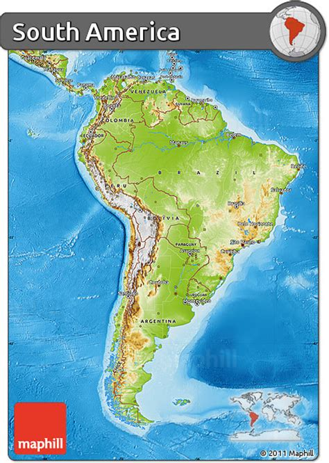 and south america map america map free physical map of south america