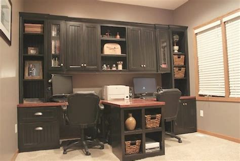 diy built in office cabinets diy office with t shaped countertop and built in cabinets