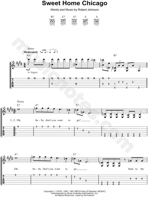 robert johnson quot sweet home chicago quot guitar tab in e major