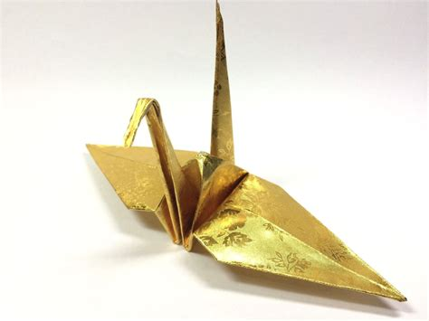 Gold Origami - 100 origami paper crane in gold with pattern 6 inch