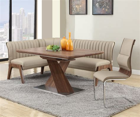 nook dining room set extendable in wood leather furniture dining room sets with