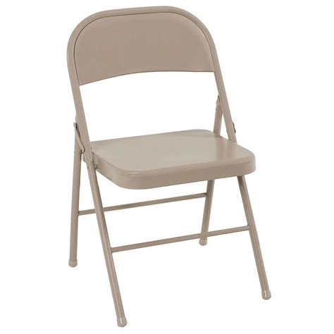 fold chair cosco antique linen all steel folding chairs 4 pack