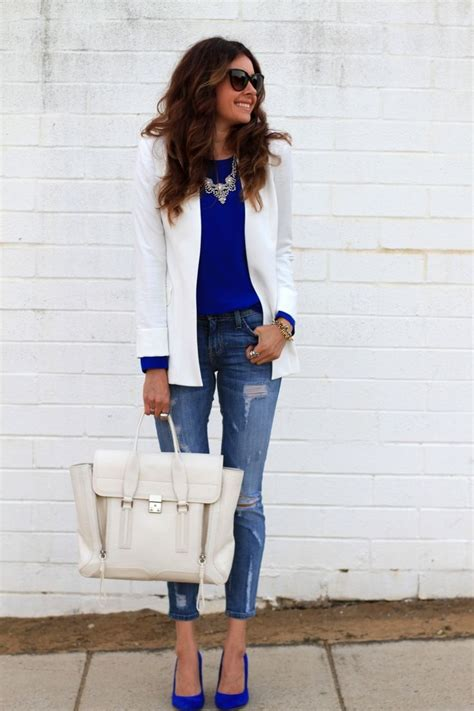 white blazer neutral colored tank black jeans pants day to night spring outfit ideas glam radar