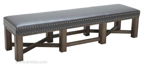 gray leather bench ottomans benches sr 41038 leather bench in grey or
