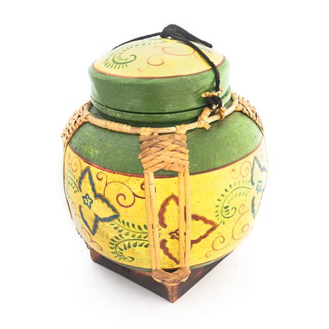Handmade Rice Box - handmade asian rice box with thai style flower siam sawadee