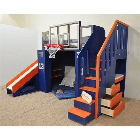 bunk beds with built in desk and drawers the ultimate basketball bunk bed backboard slide and more