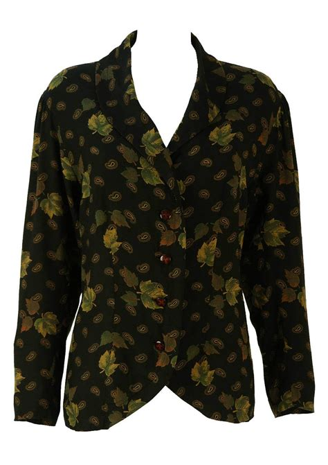 brown pattern tops black blouse with green and brown leaf paisley pattern