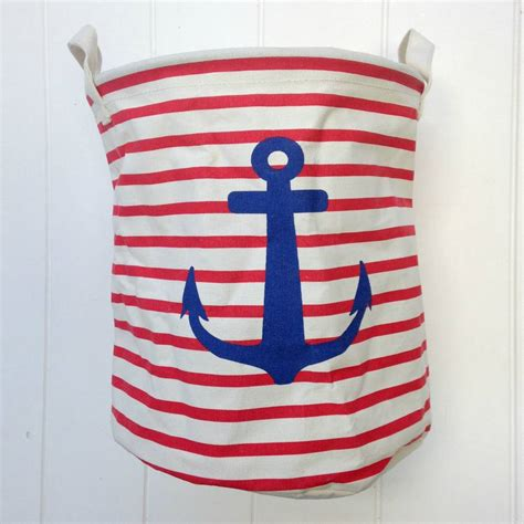 Pair Of Nautical Red And Blue Laundry Basket By Posh Totty Nautical Laundry