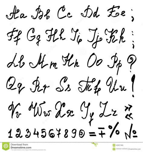 lettere in stato minuscolo alfabeto calligrafico della mano reale di vettore