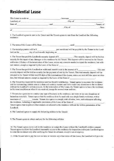 residential property lease agreement template printable sle residential lease form laywers template