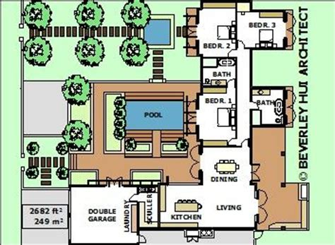 L Shaped House Plans With Pool Various Size Architect L Shaped Floor Plans With Pool