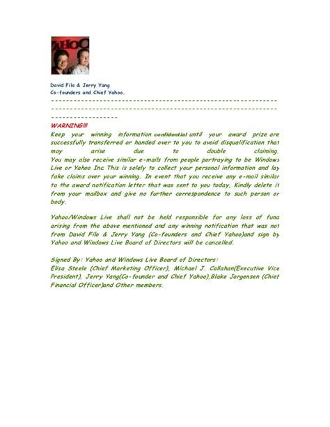 Award Notice Letter Award Notification Letter
