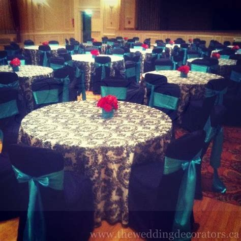 Black & White Damask Print, Black, Turquoise & Red Wedding