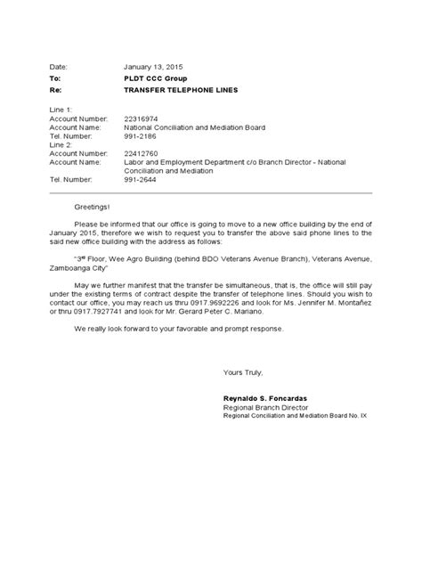 Authorization Letter Singtel letter of request for transfer of lines pldt