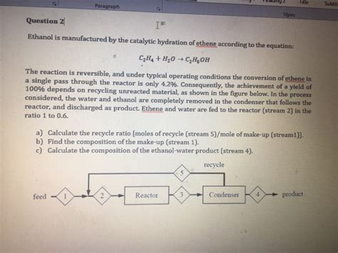 hydration questions and answers solved ethanol is manufactured by the catalytic hydration