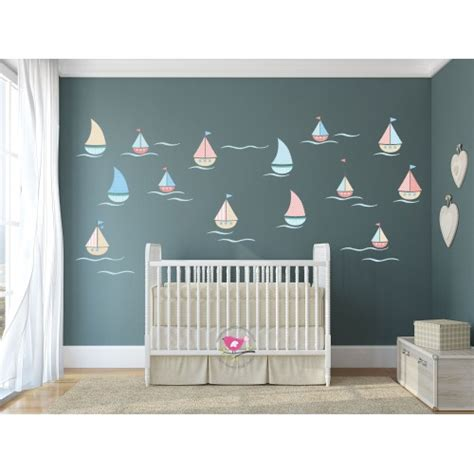 seaside wall stickers sailing boat nursery wall stickers