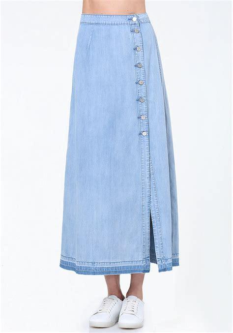 denim button up maxi skirt