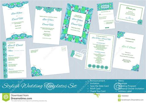 stylish thank you card templates set of vector wedding templates stock illustration