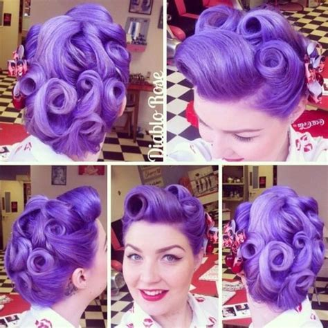 hair color in 1940 pinup beauty vintage 1940s hairstyle with punchy purple