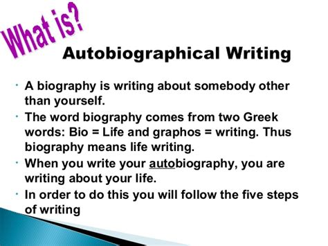 meaning of biography and autobiography scaffolding autobiographical writing