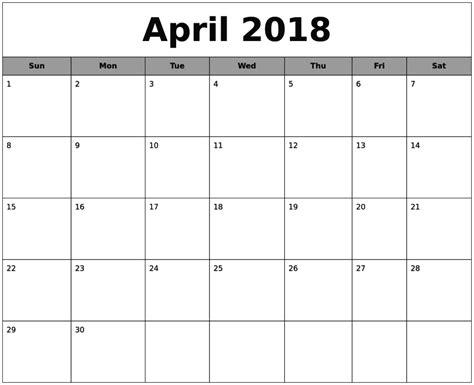 printable calendar april 2018 april 2018 calendar printable template pdf uk usa canada