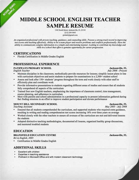 teachers resume template cover letter template resume genius