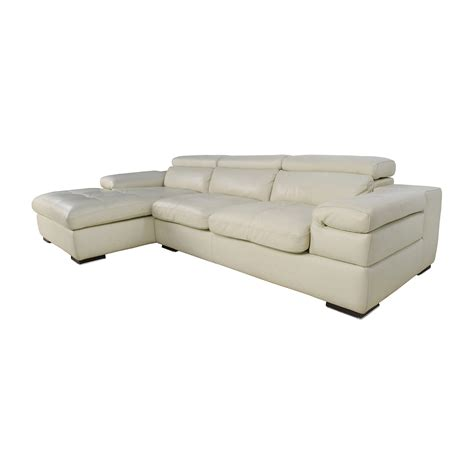 69 Off L Shaped Cream Leather Sectional Sofa Sofas L Shaped Leather Sofa