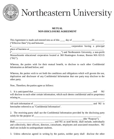 Mutual Non Disclosure Agreement Form 10 Free Word Pdf Documents Download Free Premium Non Disclosure Agreement Template Free Pdf