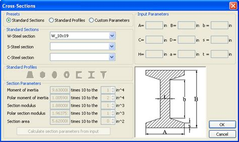 w beam section properties beam analysis tool turbocad uk