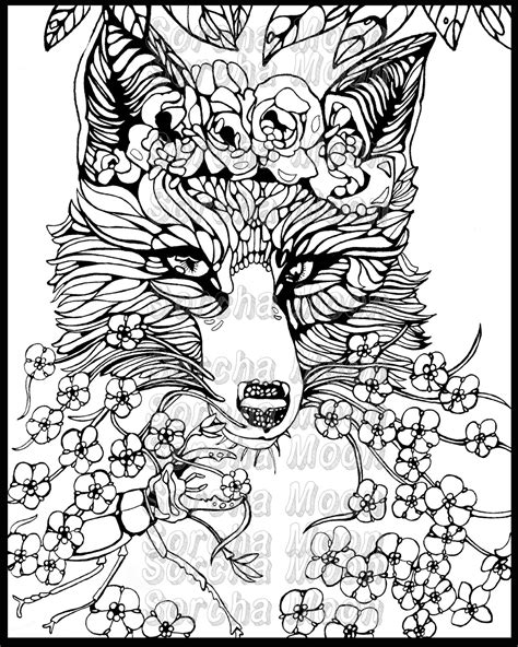 coloring pages for adults fox fox forget me nots coloring page for adults