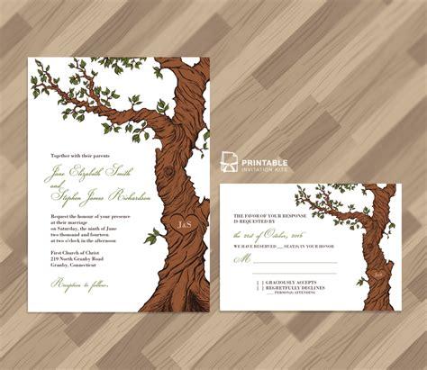 rustic tree card template fairytale tree rustic invitation template and rsvp